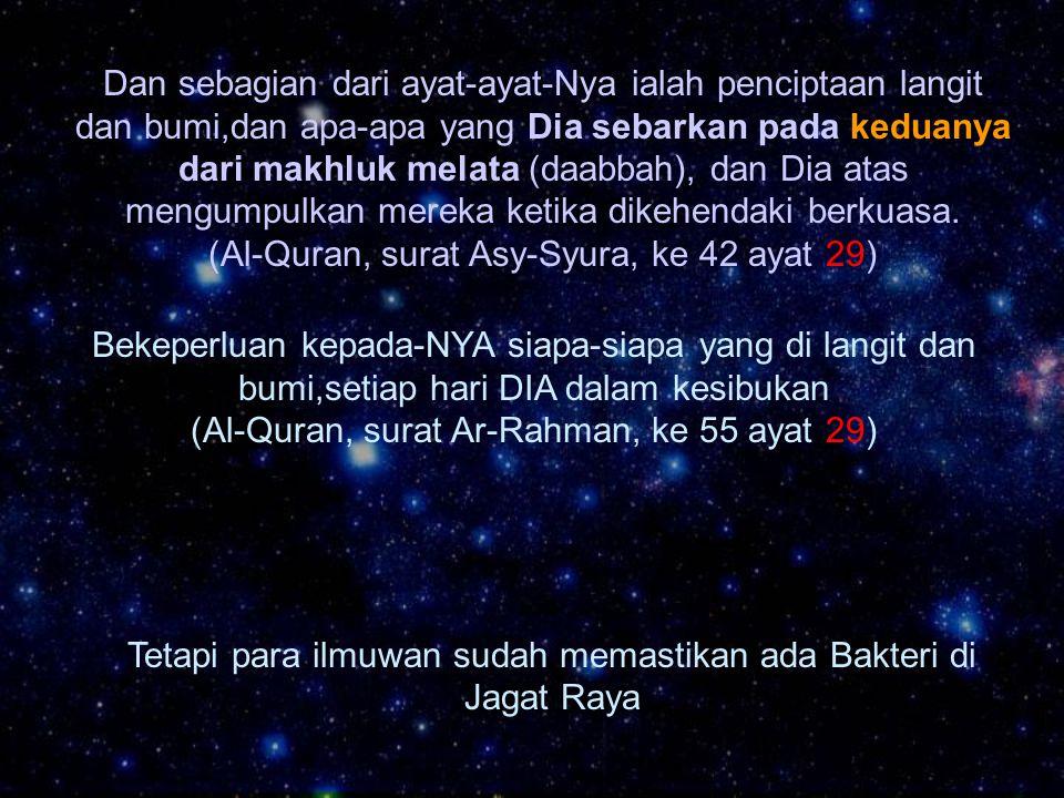 Dan sebagian dari ayat-ayat-Nya ialah penciptaan langit dan bumi,dan apa-apa yang Dia sebarkan pada keduanya dari makhluk melata (daabbah), dan Dia at