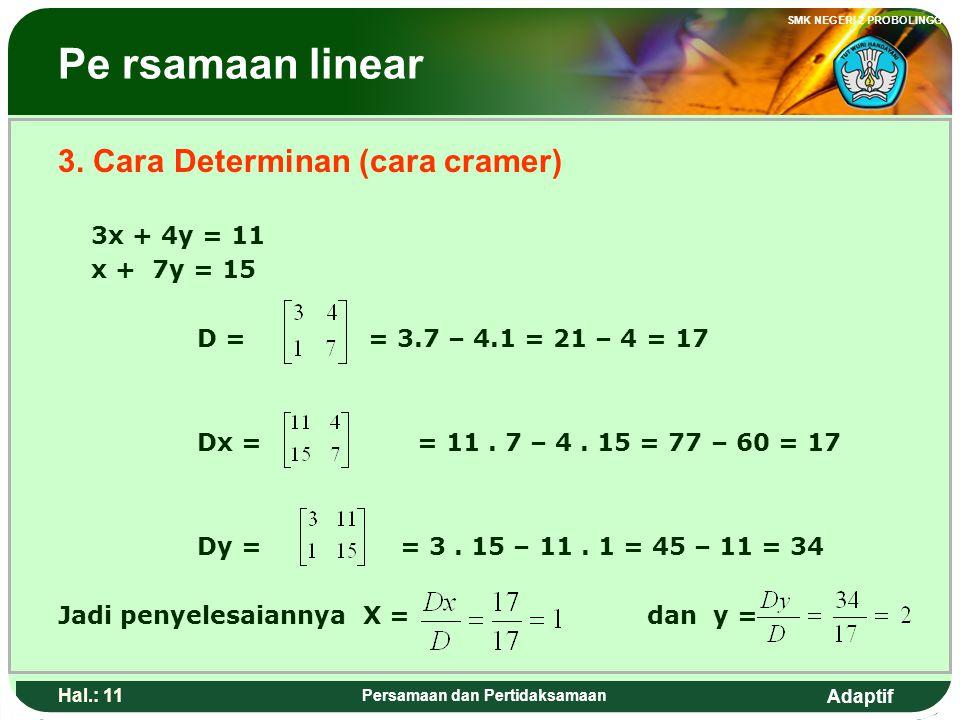 Adaptif SMK NEGERI 2 PROBOLINGGO Hal.: 10 Persamaan dan Pertidaksamaan Linear Equation 2. Substitution way 3x + 4y = 11 ……1) x + 7y = 15 …….2) from th
