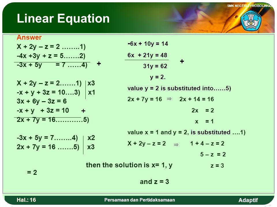 Adaptif SMK NEGERI 2 PROBOLINGGO Hal.: 15 Persamaan dan Pertidaksamaan Persamaan linear Penyelesaian X + 2y – z = 2 ……..1) -4x +3y + z = 5…….2) -3x +