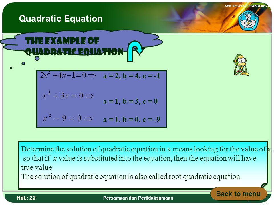 Adaptif SMK NEGERI 2 PROBOLINGGO Hal.: 21 Persamaan dan Pertidaksamaan Contoh persamaan kuadrat a = 2, b = 4, c = -1 a = 1, b = 3, c = 0 a = 1, b = 0,