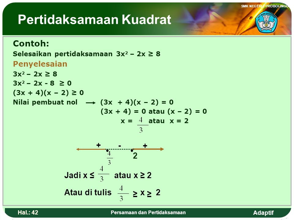 Adaptif SMK NEGERI 2 PROBOLINGGO Hal.: 41 Persamaan dan Pertidaksamaan Quadratic inequalities is an inequality which have the highest order of variable is two.