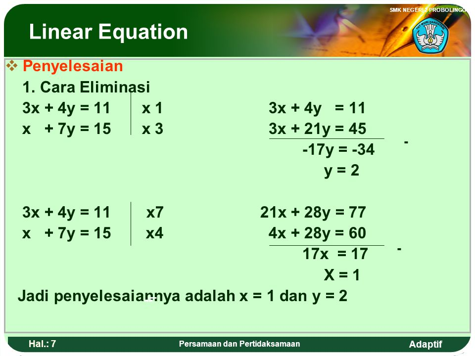 Adaptif SMK NEGERI 2 PROBOLINGGO Hal.: 6 Persamaan dan Pertidaksamaan Linear Equation 2. The Linear equation with two variables General form: a x + by