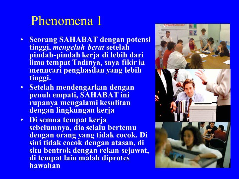 Phenomena 1 •Seorang SAHABAT dengan potensi tinggi, mengeluh berat setelah pindah-pindah kerja di lebih dari lima tempat Tadinya, saya fikir ia mennca
