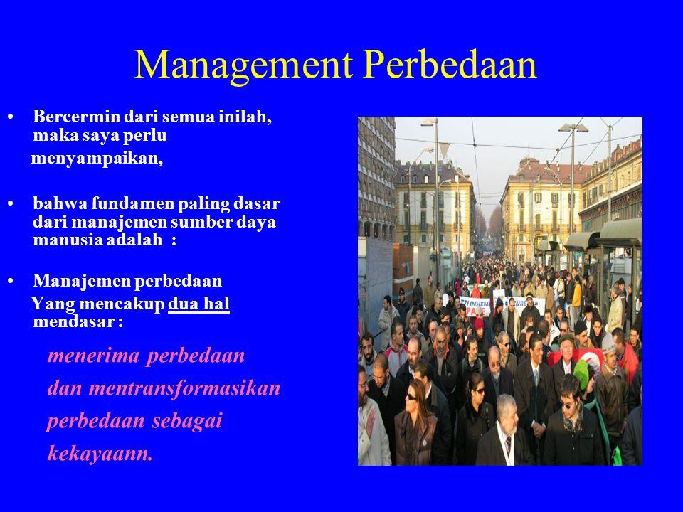 Management Perbedaan •Bercermin dari semua inilah, maka saya perlu menyampaikan, •bahwa fundamen paling dasar dari manajemen sumber daya manusia adala