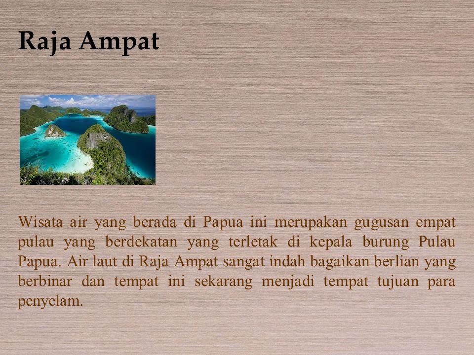 Raja Ampat Wisata air yang berada di Papua ini merupakan gugusan empat pulau yang berdekatan yang terletak di kepala burung Pulau Papua. Air laut di R