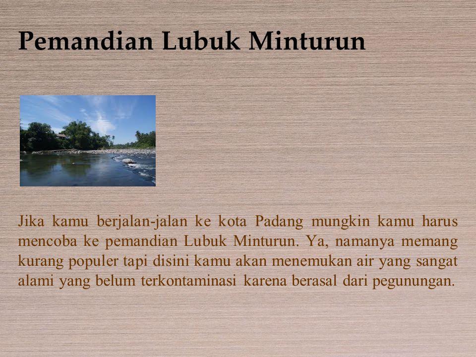 Pemandian Lubuk Minturun Jika kamu berjalan-jalan ke kota Padang mungkin kamu harus mencoba ke pemandian Lubuk Minturun. Ya, namanya memang kurang pop