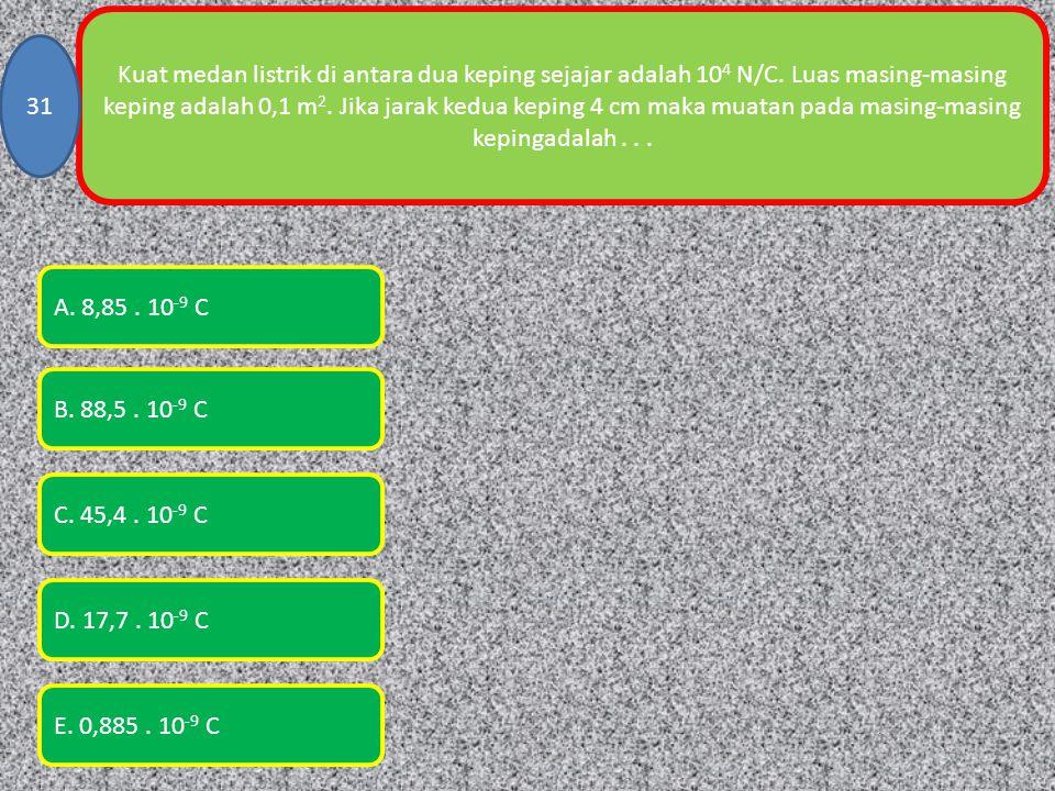 Kuat medan listrik di antara dua keping sejajar adalah 10 4 N/C.