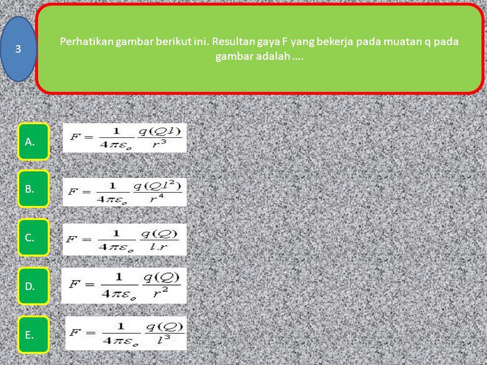 Perhatikan gambar berikut ini. Resultan gaya F yang bekerja pada muatan q pada gambar adalah …. 3 E. A. B. C. D.
