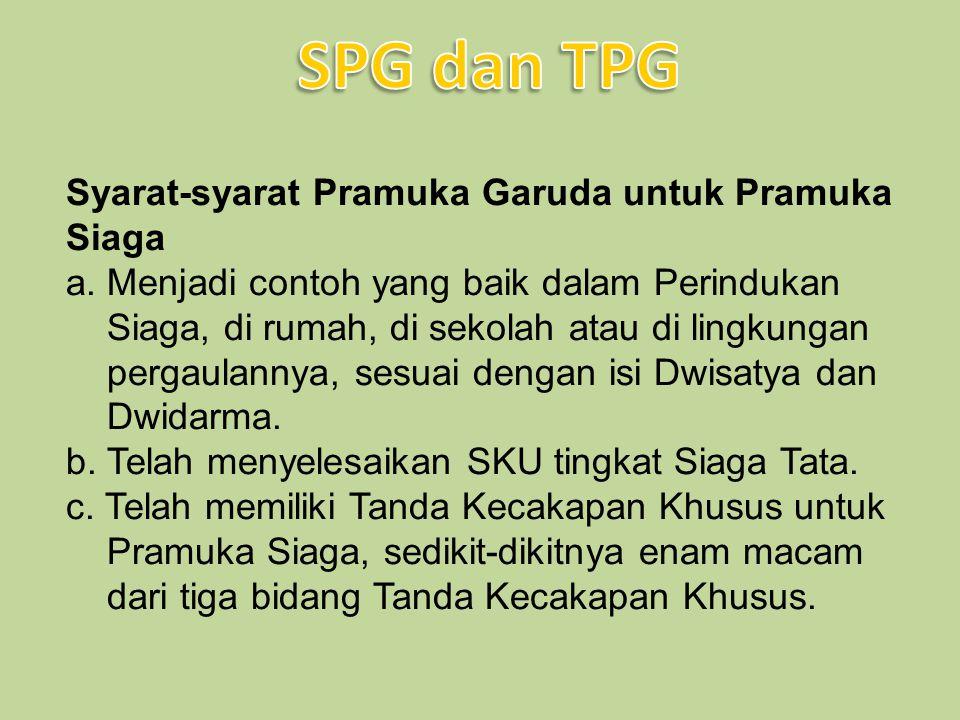Syarat-syarat Pramuka Garuda untuk Pramuka Siaga a. Menjadi contoh yang baik dalam Perindukan Siaga, di rumah, di sekolah atau di lingkungan pergaulan