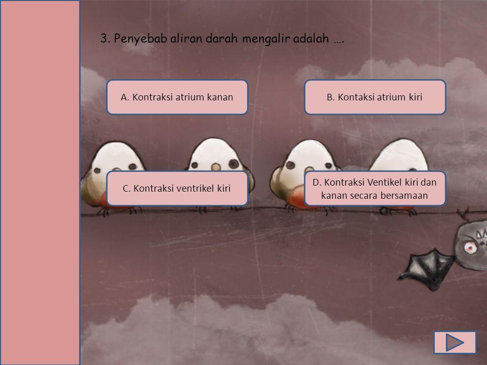 3. Penyebab aliran darah mengalir adalah …. C. Kontraksi ventrikel kiri A. Kontraksi atrium kanan D. Kontraksi Ventikel kiri dan kanan secara bersamaa