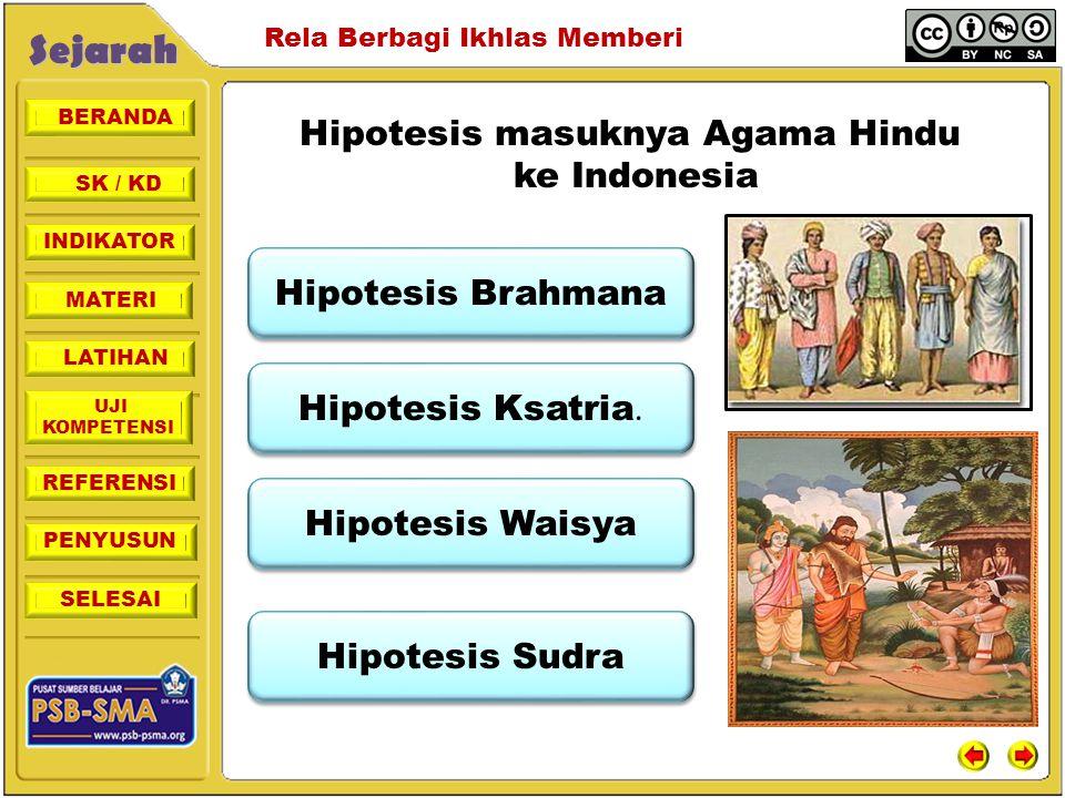 BERANDA SK / KD INDIKATORSejarah Rela Berbagi Ikhlas Memberi MATERI LATIHAN UJI KOMPETENSI REFERENSI PENYUSUN SELESAI Hipotesis masuknya Agama Hindu k