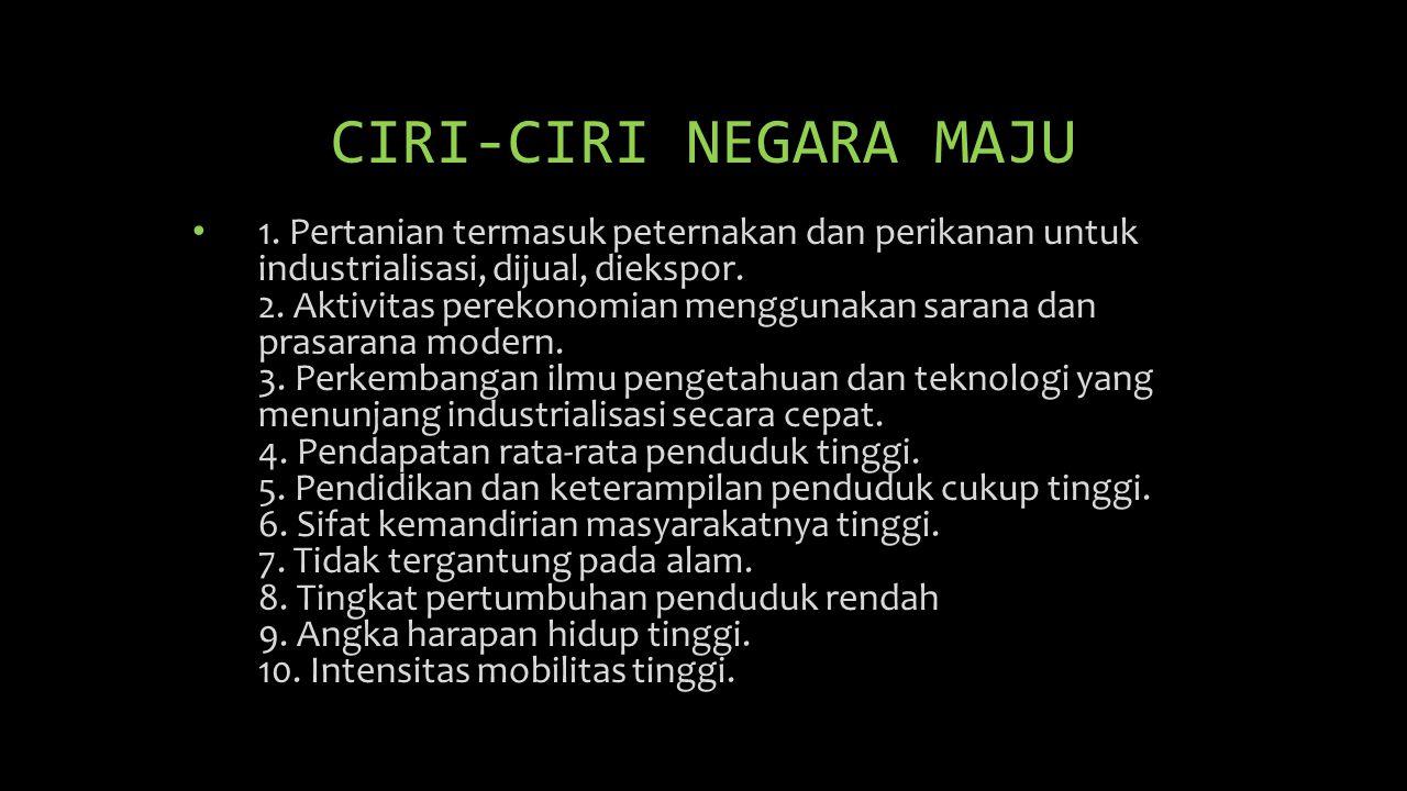 CIRI-CIRI NEGARA MAJU • 1. Pertanian termasuk peternakan dan perikanan untuk industrialisasi, dijual, diekspor. 2. Aktivitas perekonomian menggunakan