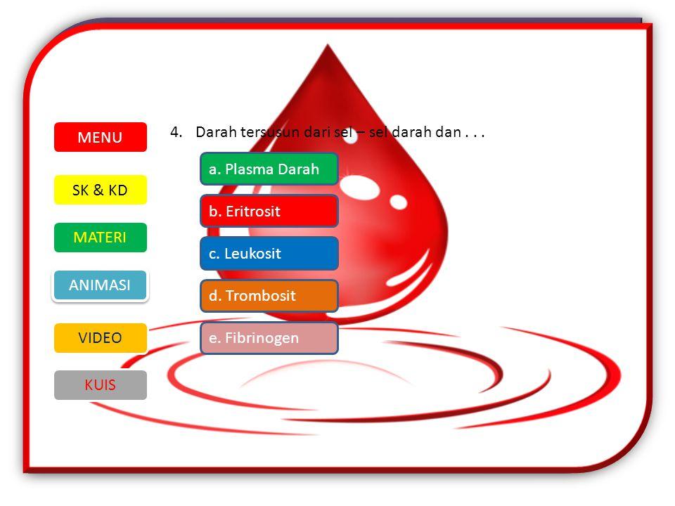 4.Darah tersusun dari sel – sel darah dan...SK & KD MATERI VIDEO ANIMASI KUIS MENU a.