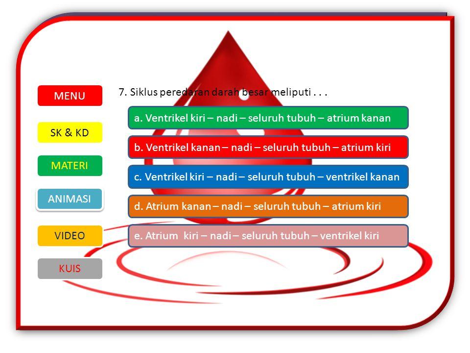 7.Siklus peredaran darah besar meliputi... SK & KD MATERI VIDEO ANIMASI KUIS MENU a.