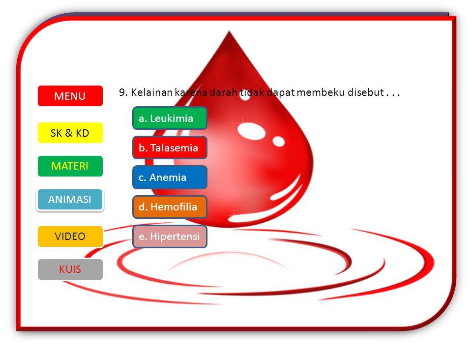 9.Kelainan karena darah tidak dapat membeku disebut...