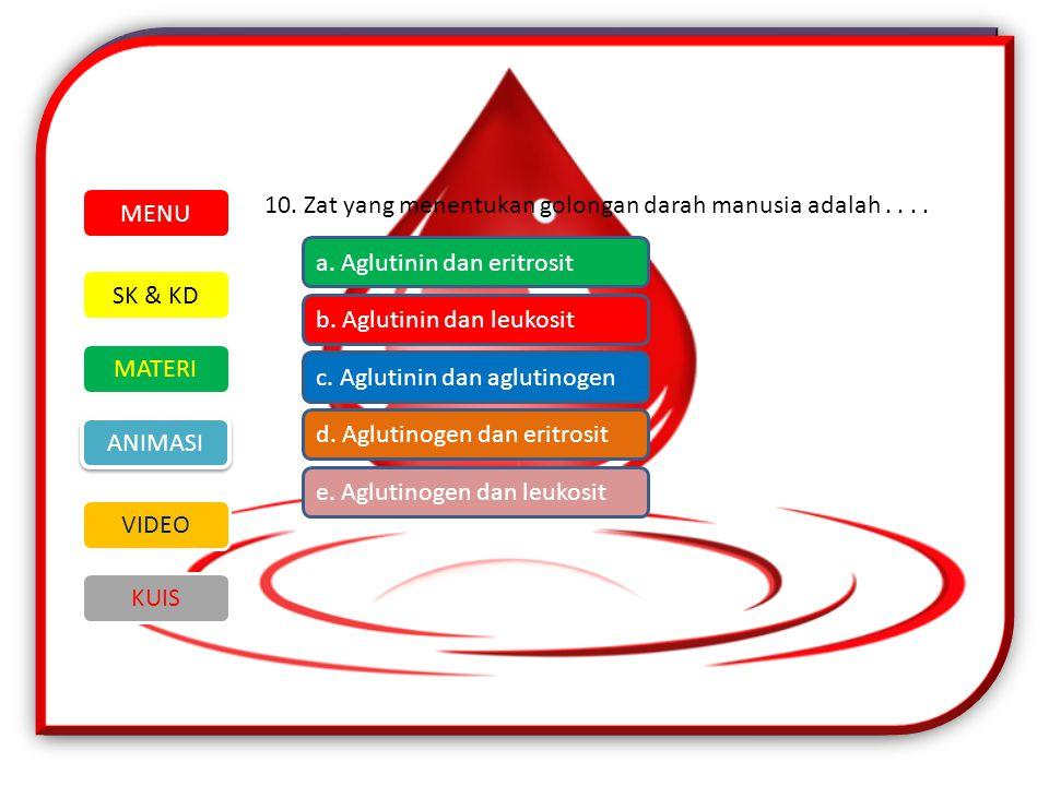 10.Zat yang menentukan golongan darah manusia adalah....
