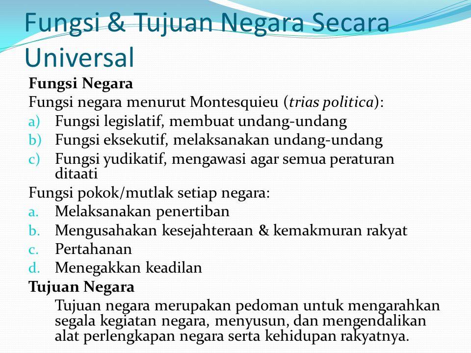 Fungsi & Tujuan Negara Secara Universal Fungsi Negara Fungsi negara menurut Montesquieu (trias politica): a) Fungsi legislatif, membuat undang-undang b) Fungsi eksekutif, melaksanakan undang-undang c) Fungsi yudikatif, mengawasi agar semua peraturan ditaati Fungsi pokok/mutlak setiap negara: a.