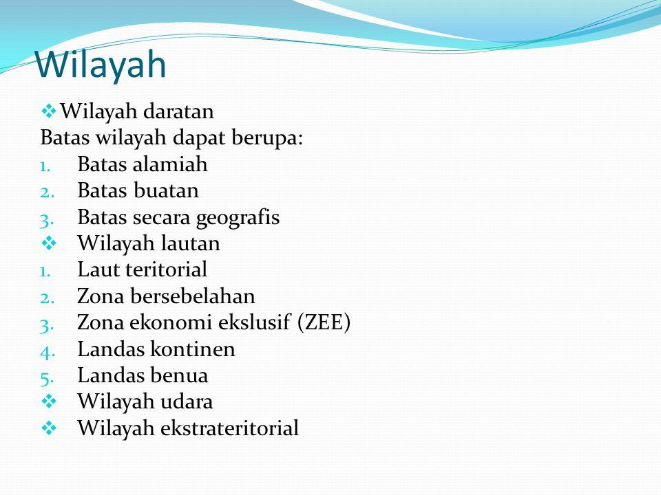 Wilayah  Wilayah daratan Batas wilayah dapat berupa: 1.