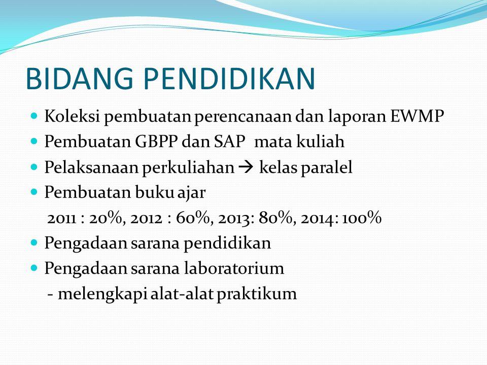 BIDANG PENDIDIKAN  Koleksi pembuatan perencanaan dan laporan EWMP  Pembuatan GBPP dan SAP mata kuliah  Pelaksanaan perkuliahan  kelas paralel  Pembuatan buku ajar 2011 : 20%, 2012 : 60%, 2013: 80%, 2014: 100%  Pengadaan sarana pendidikan  Pengadaan sarana laboratorium - melengkapi alat-alat praktikum