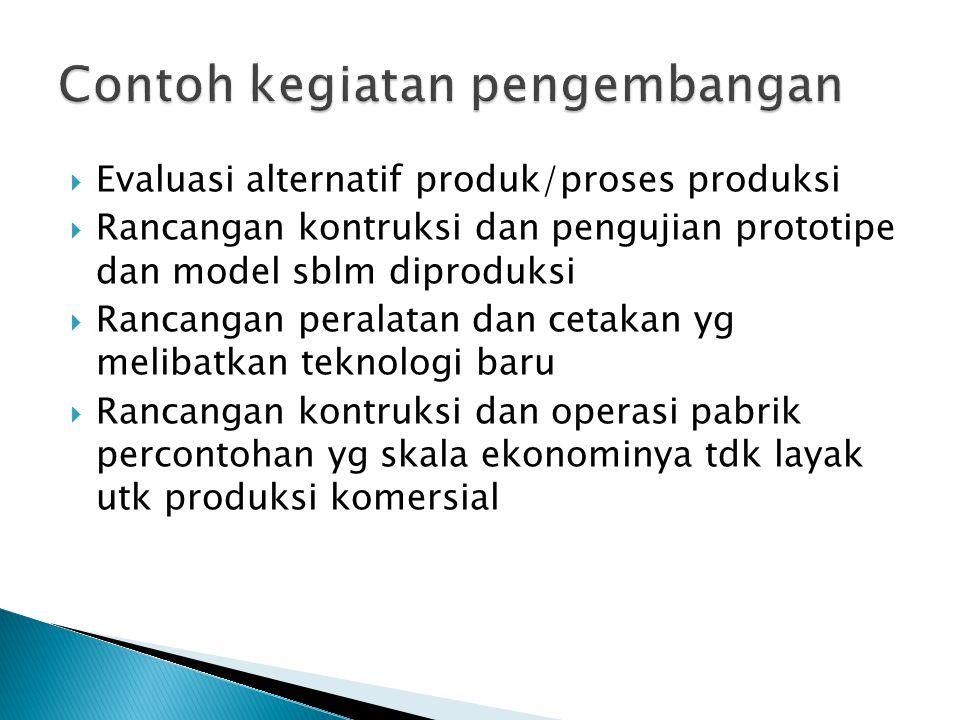  Evaluasi alternatif produk/proses produksi  Rancangan kontruksi dan pengujian prototipe dan model sblm diproduksi  Rancangan peralatan dan cetakan yg melibatkan teknologi baru  Rancangan kontruksi dan operasi pabrik percontohan yg skala ekonominya tdk layak utk produksi komersial