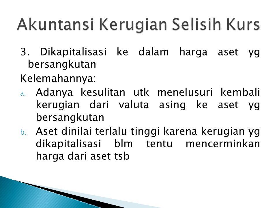 1.Kurs tetap, pembebanan selisih kurs dilakukan pada saat validasi; 2.