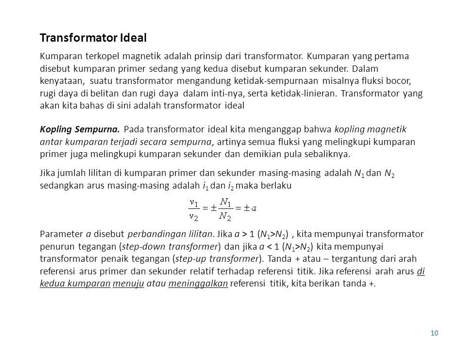 10 Transformator Ideal Kumparan terkopel magnetik adalah prinsip dari transformator. Kumparan yang pertama disebut kumparan primer sedang yang kedua d
