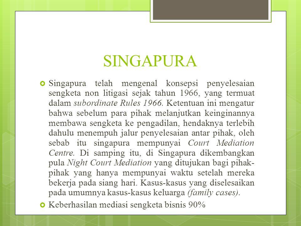 SINGAPURA  Singapura telah mengenal konsepsi penyelesaian sengketa non litigasi sejak tahun 1966, yang termuat dalam subordinate Rules 1966. Ketentua