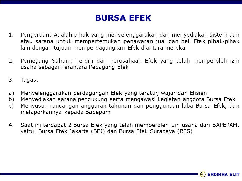 ERDIKHA ELIT BURSA EFEK 1.Pengertian: Adalah pihak yang menyelenggarakan dan menyediakan sistem dan atau sarana untuk mempertemukan penawaran jual dan beli Efek pihak-pihak lain dengan tujuan memperdagangkan Efek diantara mereka 2.Pemegang Saham: Terdiri dari Perusahaan Efek yang telah memperoleh izin usaha sebagai Perantara Pedagang Efek 3.Tugas: a)Menyelenggarakan perdagangan Efek yang teratur, wajar dan Efisien b)Menyediakan sarana pendukung serta mengawasi kegiatan anggota Bursa Efek c)Menyusun rancangan anggaran tahunan dan penggunaan laba Bursa Efek, dan melaporkannya kepada Bapepam 4.Saat ini terdapat 2 Bursa Efek yang telah memperoleh izin usaha dari BAPEPAM, yaitu: Bursa Efek Jakarta (BEJ) dan Bursa Efek Surabaya (BES)