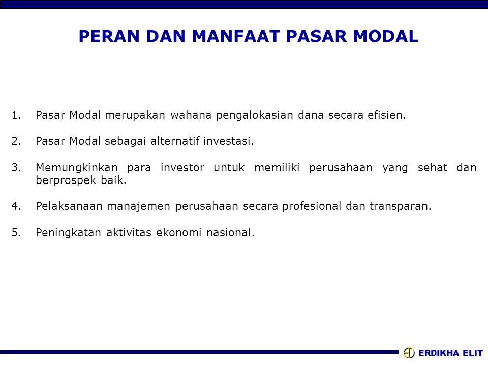 ERDIKHA ELIT PERAN DAN MANFAAT PASAR MODAL 1.Pasar Modal merupakan wahana pengalokasian dana secara efisien. 2.Pasar Modal sebagai alternatif investas