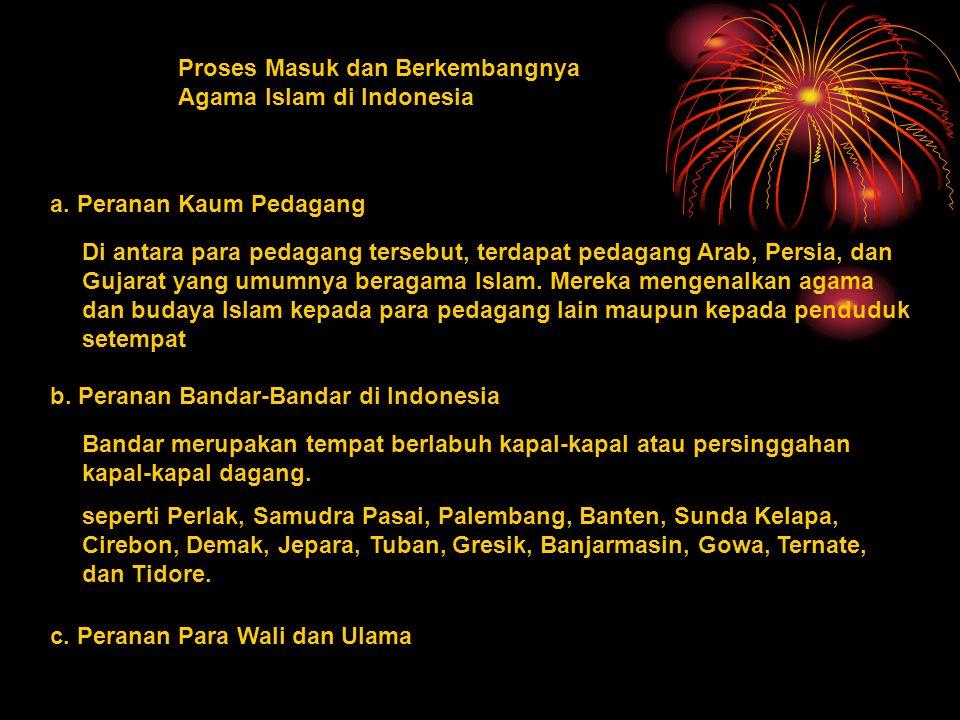 Proses Masuk dan Berkembangnya Agama Islam di Indonesia a.