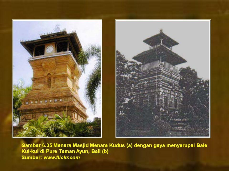 Gambar 6.35 Menara Masjid Menara Kudus (a) dengan gaya menyerupai Bale Kul-kul di Pure Taman Ayun, Bali (b) Sumber: www.flickr.com