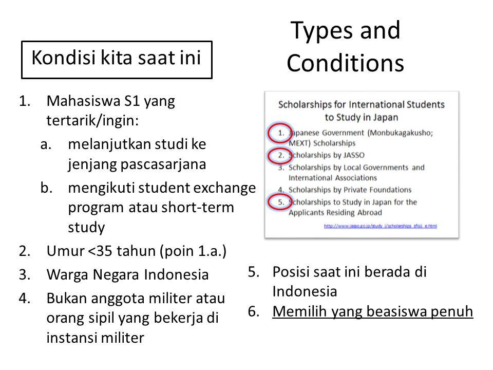Types and Conditions 1.Mahasiswa S1 yang tertarik/ingin: a.melanjutkan studi ke jenjang pascasarjana b.mengikuti student exchange program atau short-t