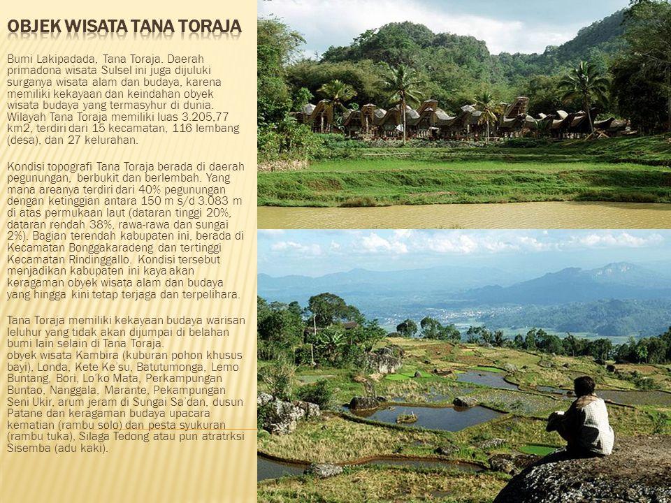 Bumi Lakipadada, Tana Toraja. Daerah primadona wisata Sulsel ini juga dijuluki surganya wisata alam dan budaya, karena memiliki kekayaan dan keindahan