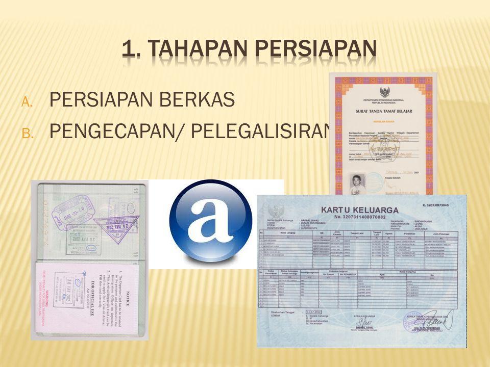 A. PERSIAPAN BERKAS B. PENGECAPAN/ PELEGALISIRAN