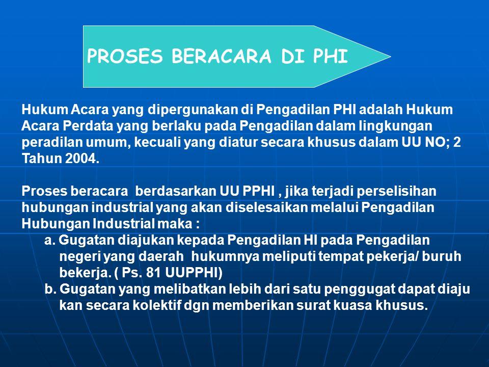 PROSES BERACARA DI PHI Hukum Acara yang dipergunakan di Pengadilan PHI adalah Hukum Acara Perdata yang berlaku pada Pengadilan dalam lingkungan peradi