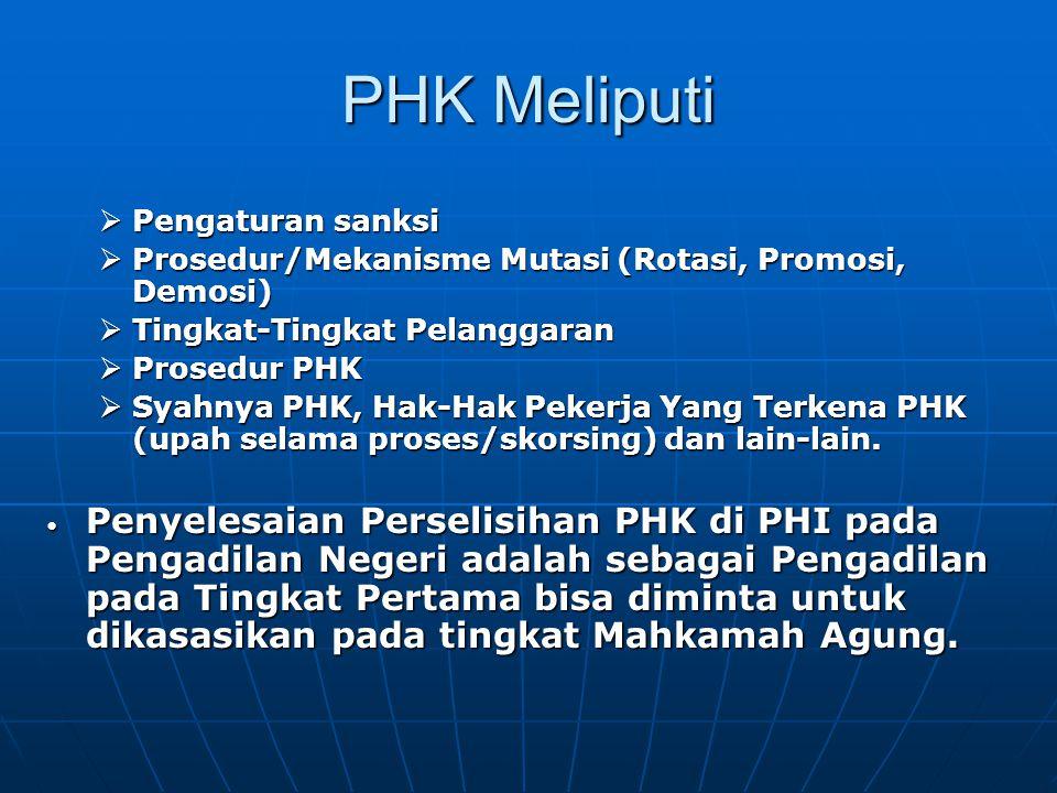 PHK Meliputi  Pengaturan sanksi  Prosedur/Mekanisme Mutasi (Rotasi, Promosi, Demosi)  Tingkat-Tingkat Pelanggaran  Prosedur PHK  Syahnya PHK, Hak