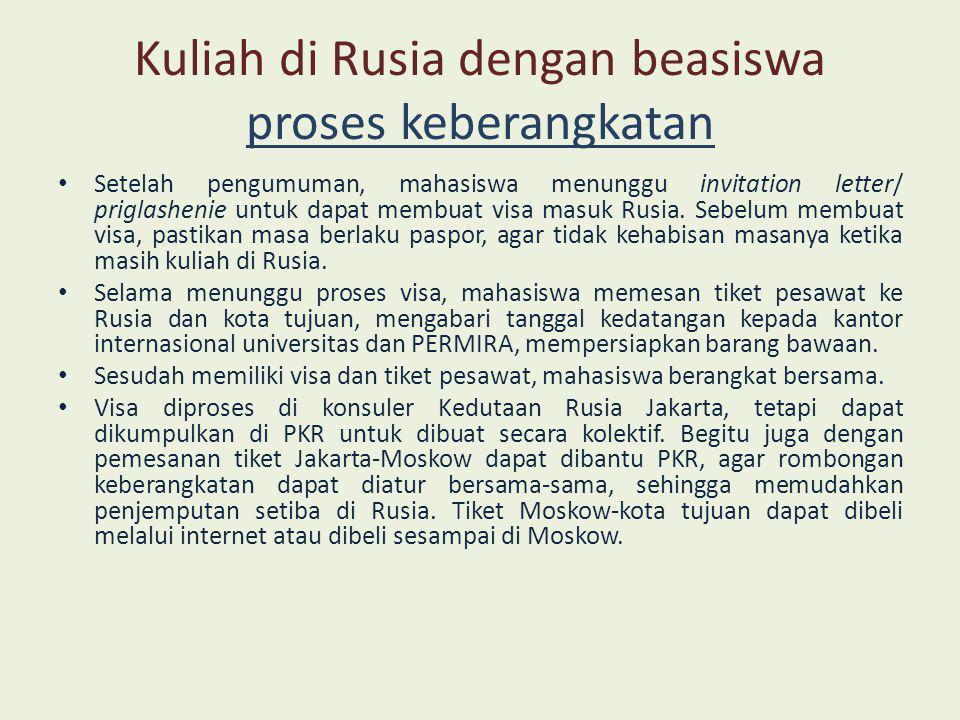 Kuliah di Rusia dengan beasiswa tiba di Rusia • Setiba di Rusia, mahasiswa dijemput oleh staf Kementerian Rusia, KBRI dan PERMIRA.