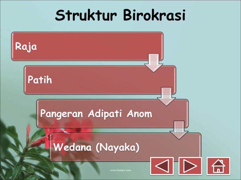 Struktur Birokrasi RajaPatihPangeran Adipati AnomWedana (Nayaka)