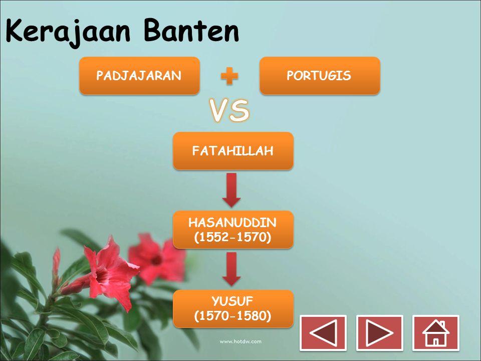 Kerajaan Banten PADJAJARAN PORTUGIS FATAHILLAH HASANUDDIN (1552-1570) HASANUDDIN (1552-1570) YUSUF (1570-1580) YUSUF (1570-1580)