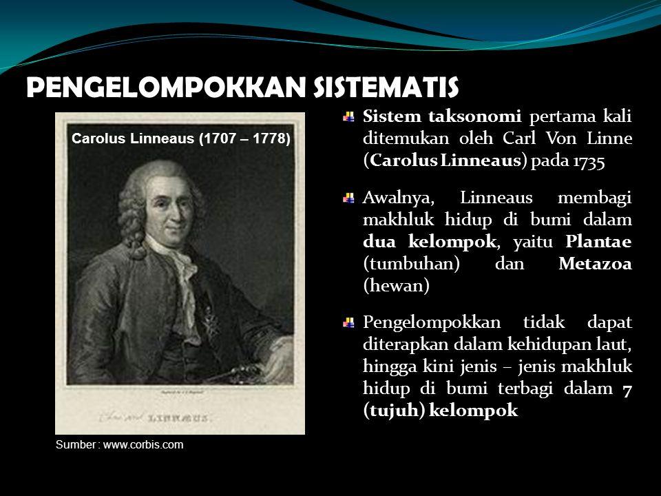 PENGELOMPOKKAN SISTEMATIS Sistem taksonomi pertama kali ditemukan oleh Carl Von Linne (Carolus Linneaus) pada 1735 Awalnya, Linneaus membagi makhluk h