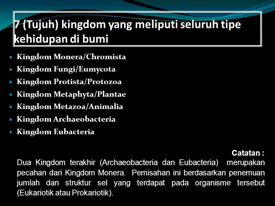 7 (Tujuh) kingdom yang meliputi seluruh tipe kehidupan di bumi  Kingdom Monera/Chromista  Kingdom Fungi/Eumycota  Kingdom Protista/Protozoa  Kingd