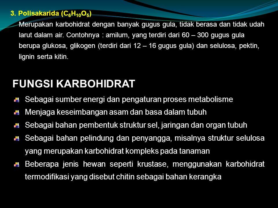 FUNGSI KARBOHIDRAT Sebagai sumber energi dan pengaturan proses metabolisme Menjaga keseimbangan asam dan basa dalam tubuh Sebagai bahan pembentuk struktur sel, jaringan dan organ tubuh Sebagai bahan pelindung dan penyangga, misalnya struktur selulosa yang merupakan karbohidrat kompleks pada tanaman Beberapa jenis hewan seperti krustase, menggunakan karbohidrat termodifikasi yang disebut chitin sebagai bahan kerangka 3.