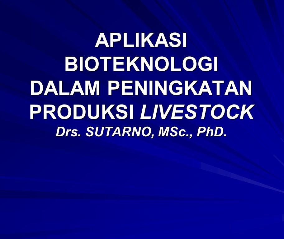PENDAHULUAN Peningkatan di bidang bioteknologi hewan: Peningkatan di bidang bioteknologi hewan: – reproduksi, – pertumbuhan, – laktasi, – nutrisi maupun – kontrol dan diagnosa penyakit.