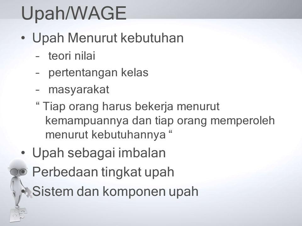 """Upah/WAGE •Upah Menurut kebutuhan – teori nilai – pertentangan kelas – masyarakat """" Tiap orang harus bekerja menurut kemampuannya dan tiap orang mempe"""
