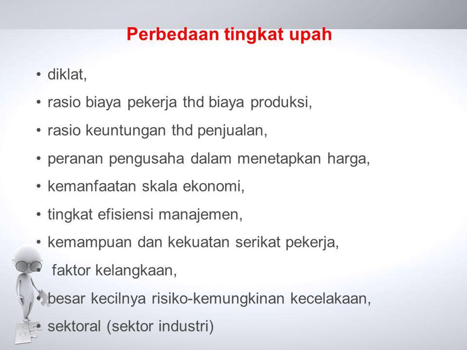 Perbedaan tingkat upah •diklat, •rasio biaya pekerja thd biaya produksi, •rasio keuntungan thd penjualan, •peranan pengusaha dalam menetapkan harga, •