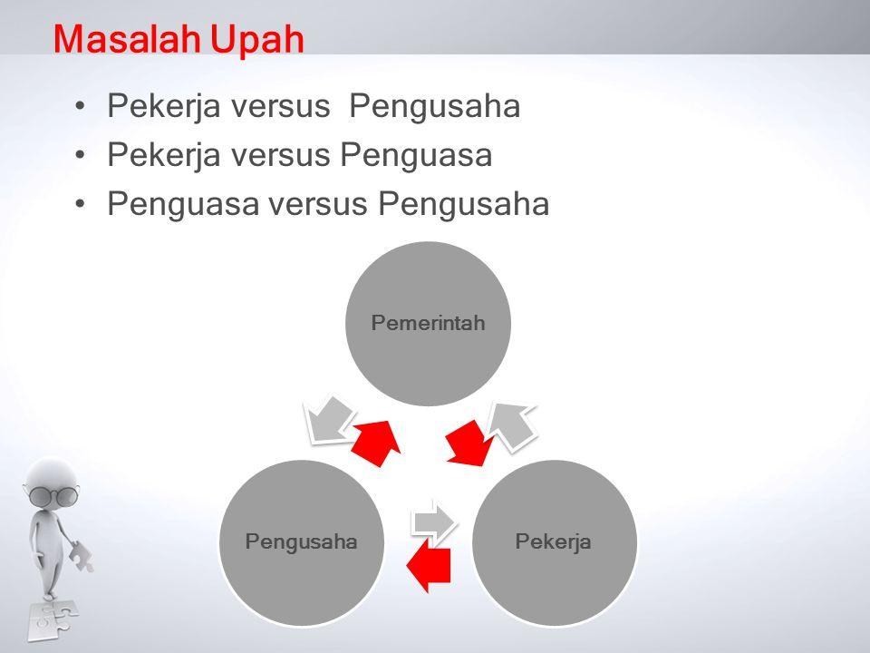 Masalah Upah •Pekerja versus Pengusaha •Pekerja versus Penguasa •Penguasa versus Pengusaha
