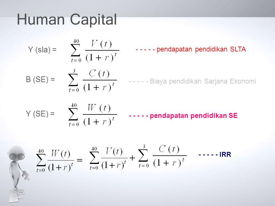 Human Capital Y (SE) =B (SE) =Y (sla) = - - - - - pendapatan pendidikan SLTA - - - - - Biaya pendidikan Sarjana Ekonomi - - - - - pendapatan pendidika