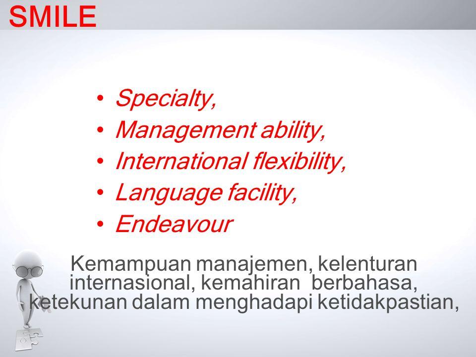 SMILE •Specialty, •Management ability, •International flexibility, •Language facility, •Endeavour Kemampuan manajemen, kelenturan internasional, kemah
