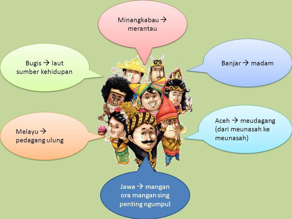 Bugis  laut sumber kehidupan Jawa  mangan ora mangan sing penting ngumpul Melayu  pedagang ulung Minangkabau  merantau Aceh  meudagang (dari meun