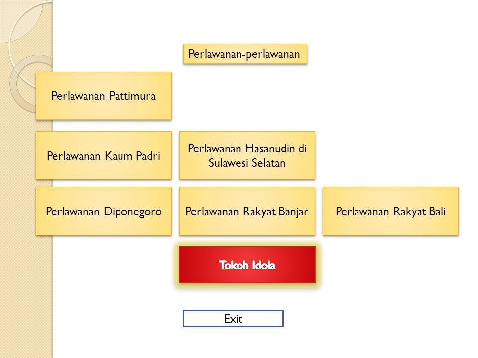 Perlawanan-perlawanan Perlawanan Pattimura Perlawanan Kaum Padri Perlawanan Diponegoro Perlawanan Rakyat Bali Perlawanan Hasanudin di Sulawesi Selatan Perlawanan Hasanudin di Sulawesi Selatan Perlawanan Rakyat Banjar Exit